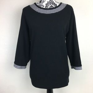 Dillard's Waffled Herringbone and Black Sweater